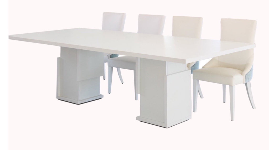 Baia Dining Table 2.75m. All White with Wood Grain Veneer