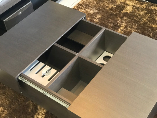 coffee table with hidden  bar and book storage