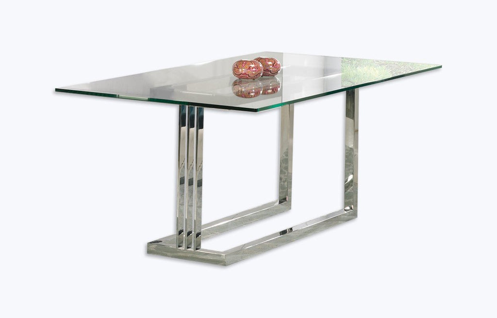Londres glass top dining table with designer steel leg.