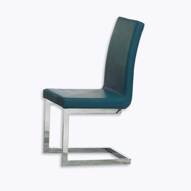 Modern dining chair with steel legs and upholstered in eco-leather.