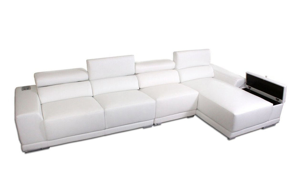 Luxury Designer L-shape Couch in eco-leather with adjustable headrests and storage arm.