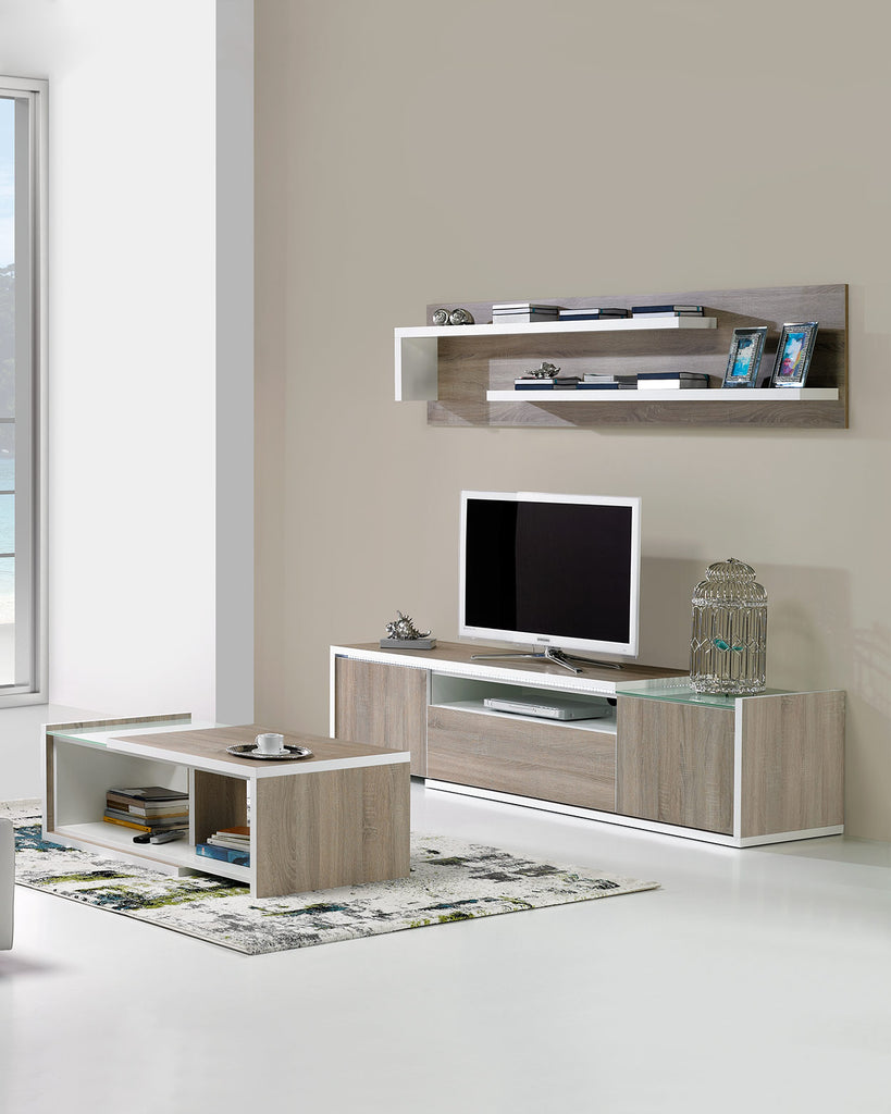 Baia TV Stand with matching upper shel and the baia coffee table