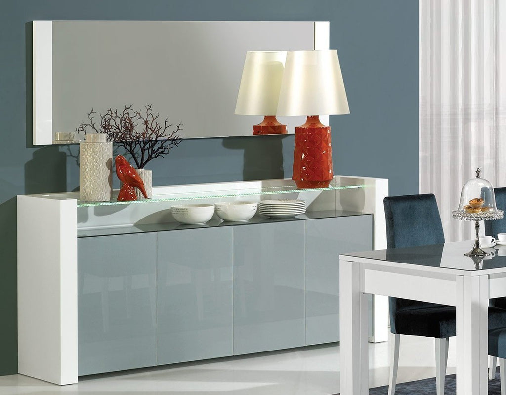 Paris luxury glass sideboard, Led Illumination, 4 doors. Matching dining room mirror.