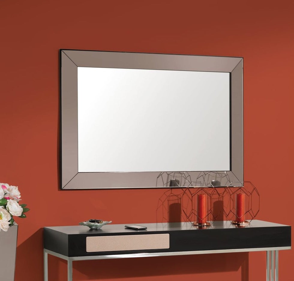 Paris Glass Framed Mirror 1.2 m and Paris Sideboard with Tall Side Table.