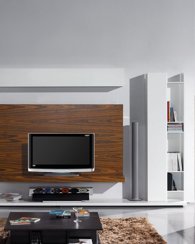 Wall mounted plasma tv  unit with wall mounted shelving options.