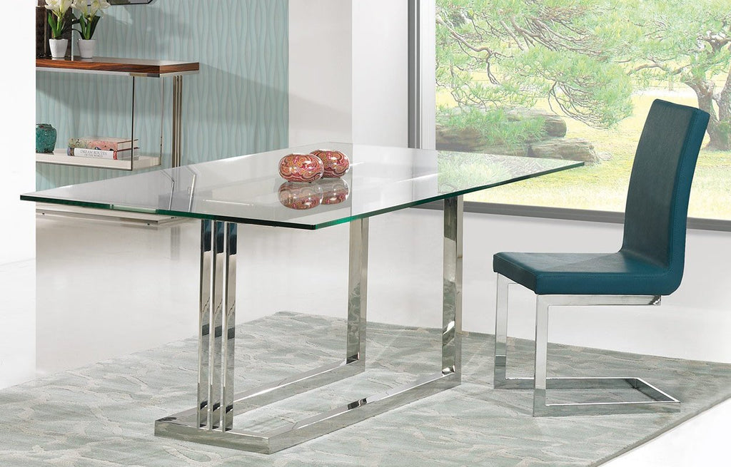 Londres glass top Dining Table and eco-leather dining Chairs