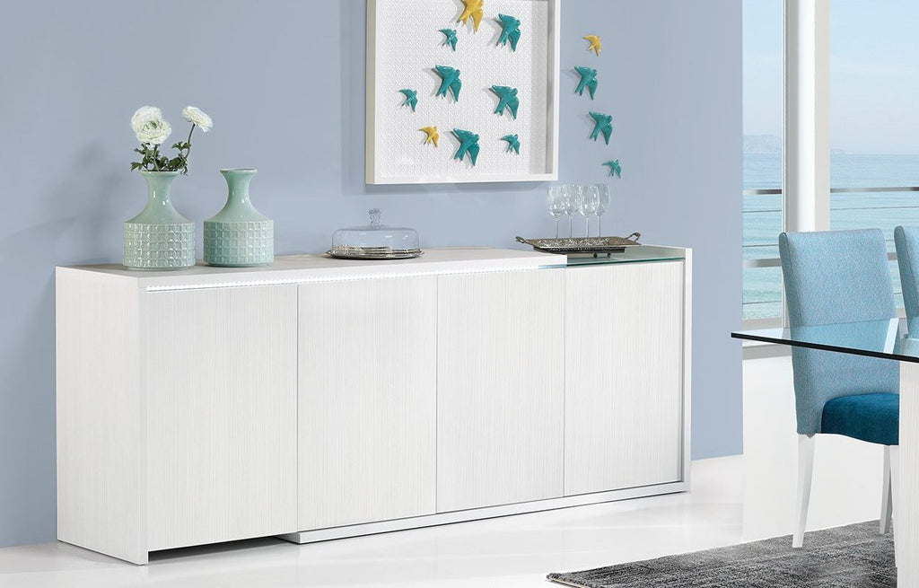 Baia Sideboard in with white panels, partial glass top feature, 4 doors and LED Illumination.