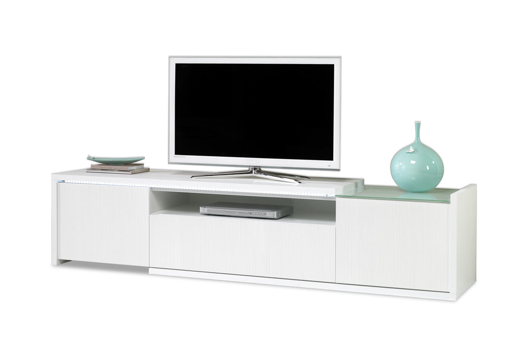 Baia All White TV Stand 2 Door 1 Drawer