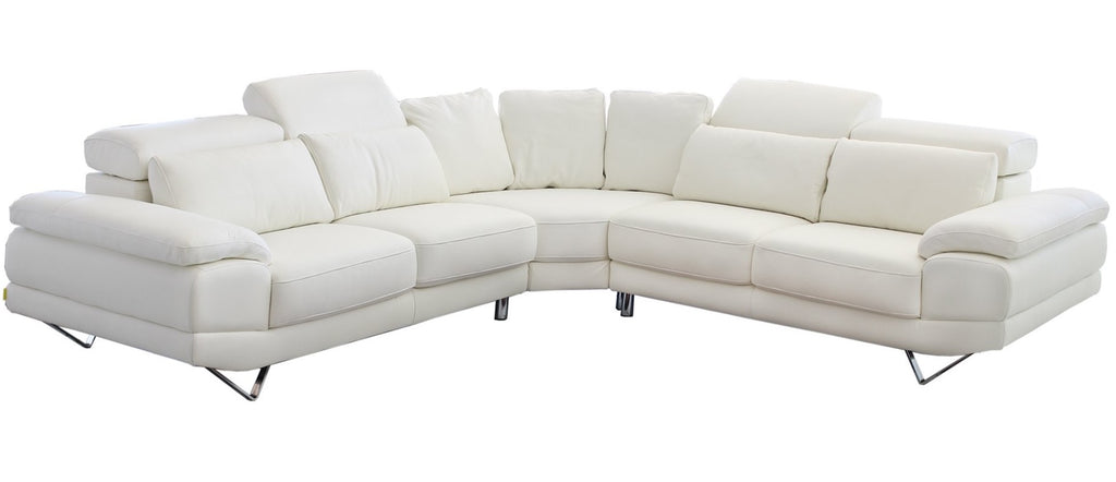 Dennis Leather Corner Couch with Sound System, LED Feature Lighting & Adjustable Headrest