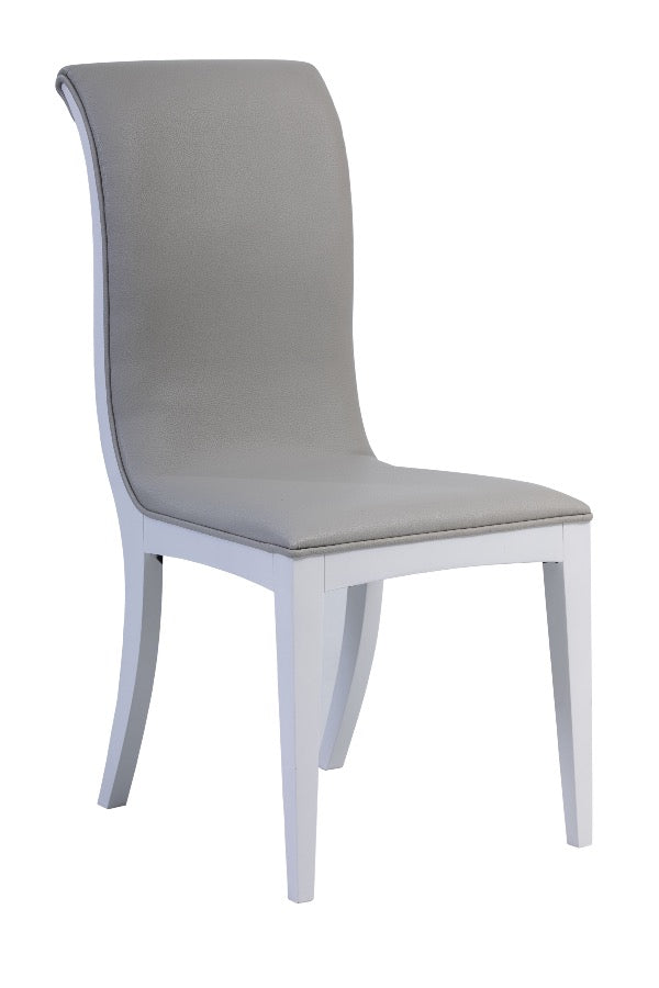 Viena Curved dining chair in eco-leather and luxury fabric, wooden legs.