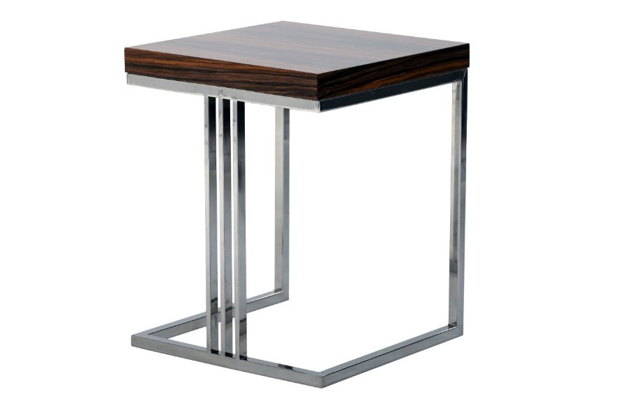 Luxurious high gloss side table in Pau Santo Wood finish with steel legs.
