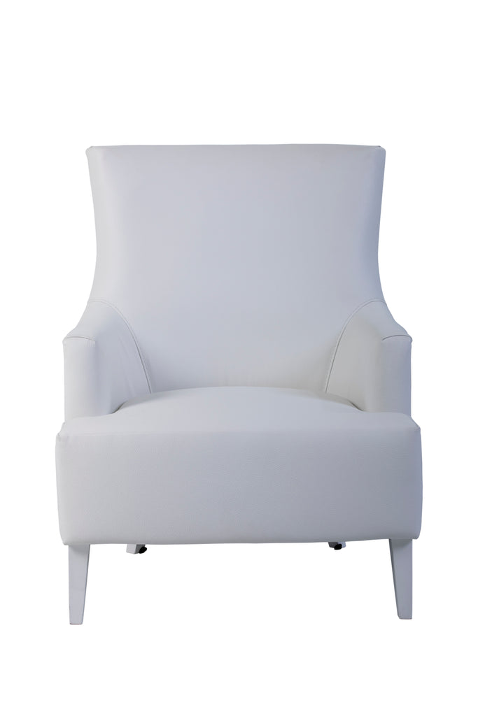 Large Geneve Upholstered Armchair with wooden legs, eco-leather front and floral back.