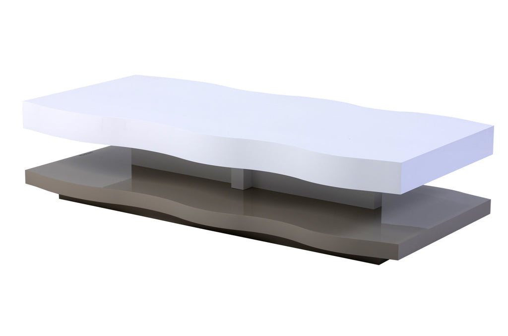 Viena designer Coffee Table with handcrafted wave and central leg.