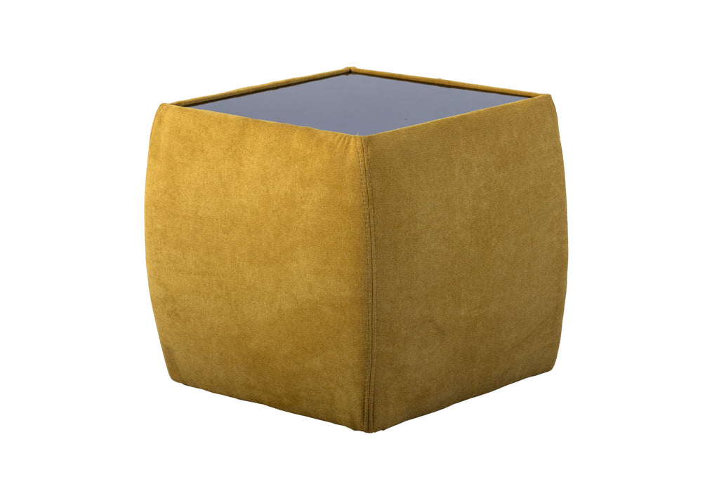 Jane cube shaped pedestal upholstered in suede and black glass top feature.