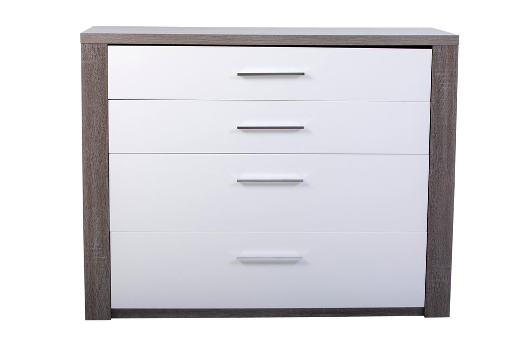 Paris 4 drawer chest of drawers in a modern Oak finish.