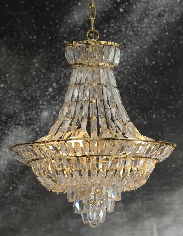 Modern crystal chandelier imported from Portugal.