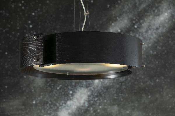 modern ceiling light in black wood with frosted glass.