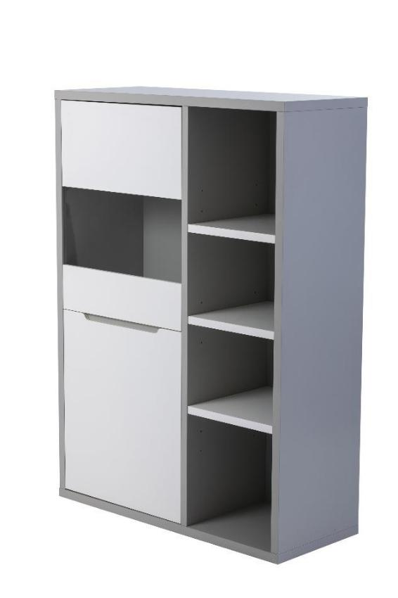 Viena bar cabinet in a modern grey and white finish.