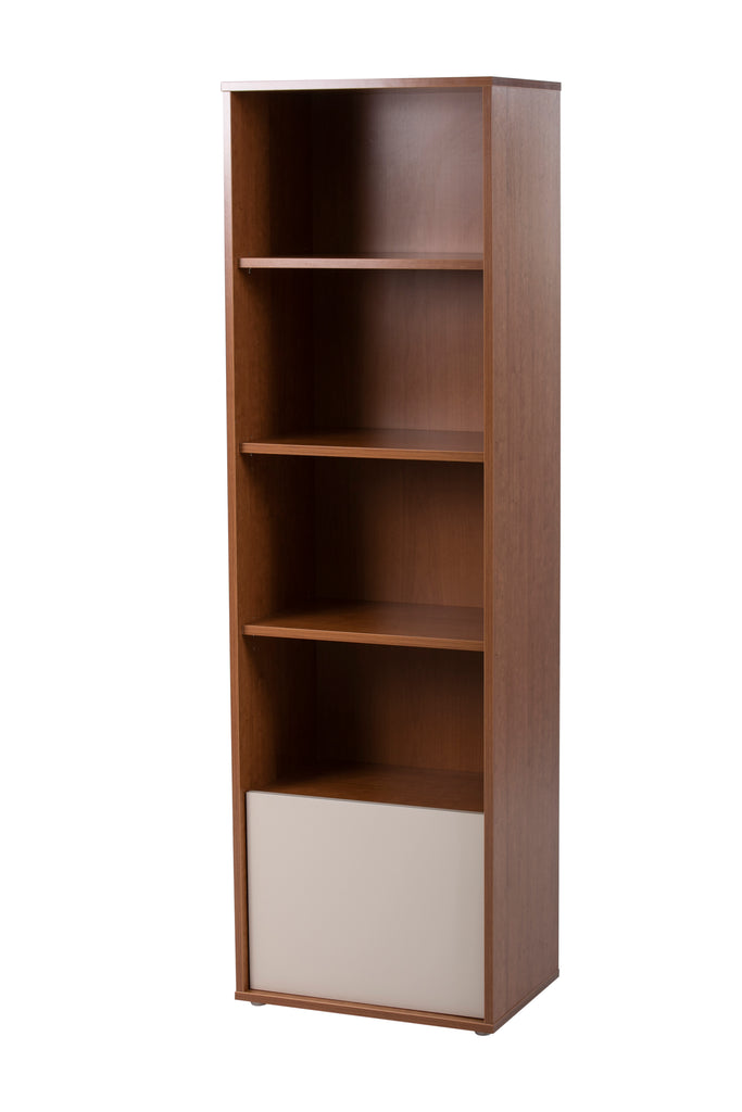 Milan cherry wood and cream book shelf. Upright shelf.