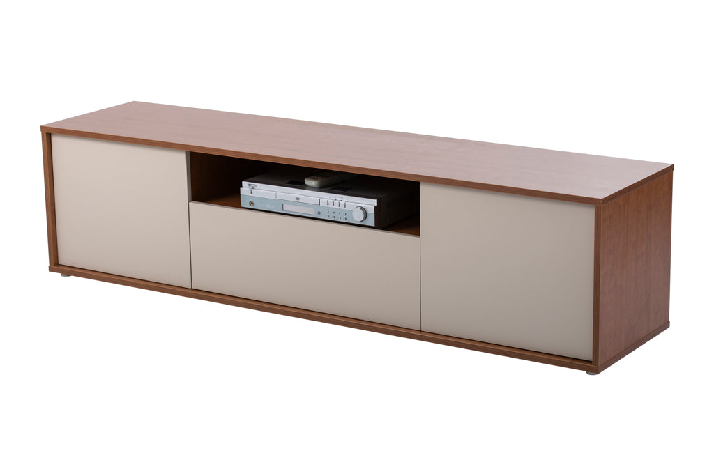 Milan cherry wood and cream TV Stand , 3 doors.