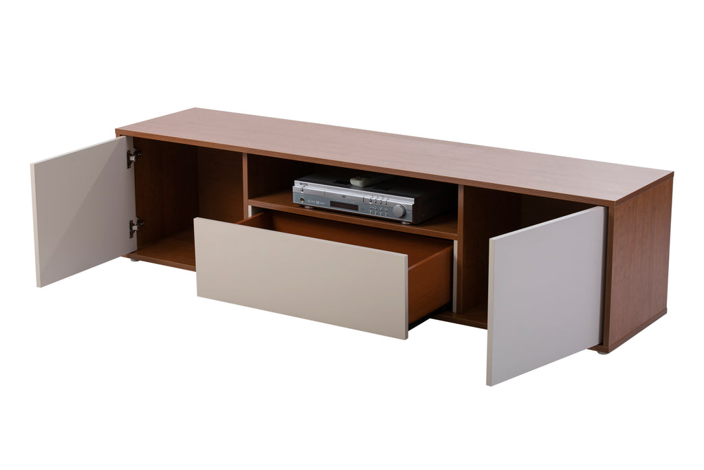 Milan cherry wood and cream TV Stand , 2 doors 1 drawer