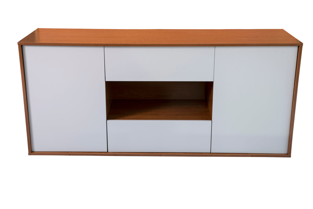 Milan Cherry Wood and cream sideboard, 2 drawers and 2 doors.