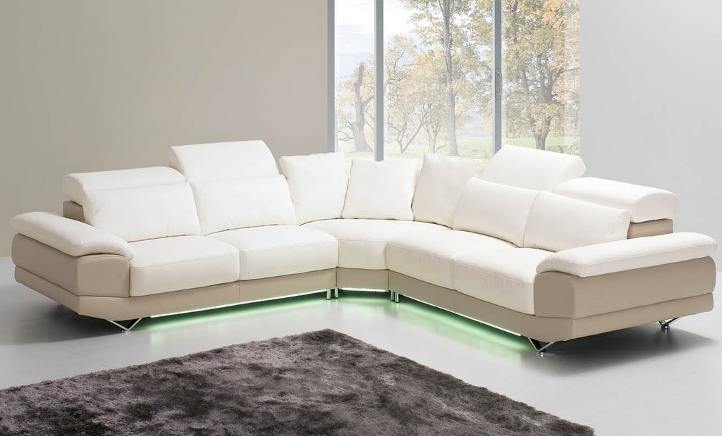 Luxury corner sofa in eco-leather with adjustable headrests and optional LED lighting