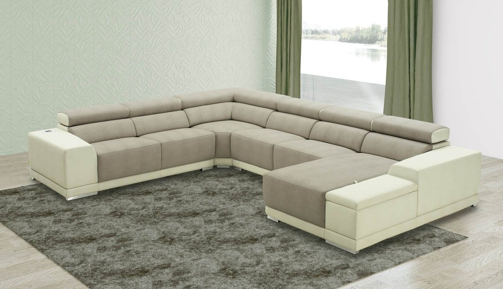 Large Vincent corner couch in eco-leather with storage arm.