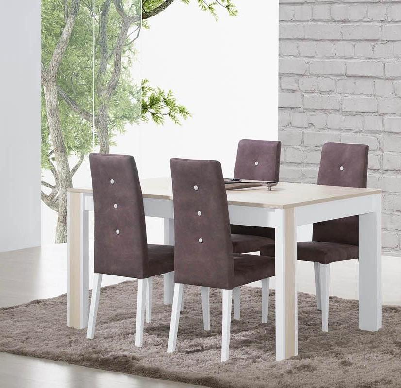 Milan bleached wood 6 seater dining table