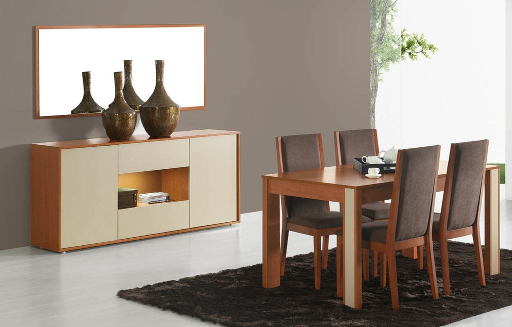 Milan cherry wood and cream sideboard with illumination, 6 seater dining table