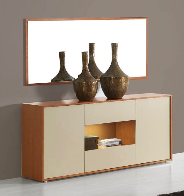 Milan cherry wood and cream sideboard with illumination.