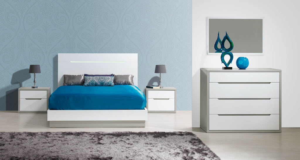 Viena XL Queen Bed with base and headboard featuring subtle Led illumination.