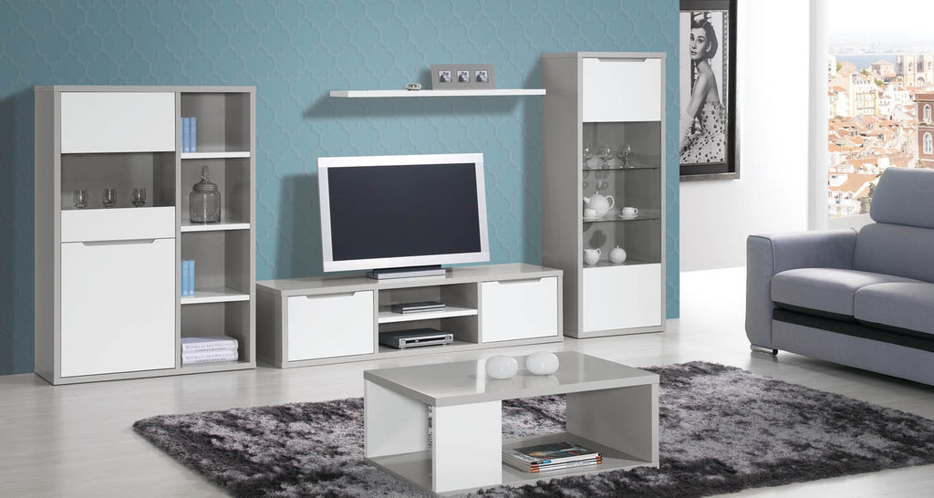 Viena modern living room set including bar cabinet tv stand and upright shelf.