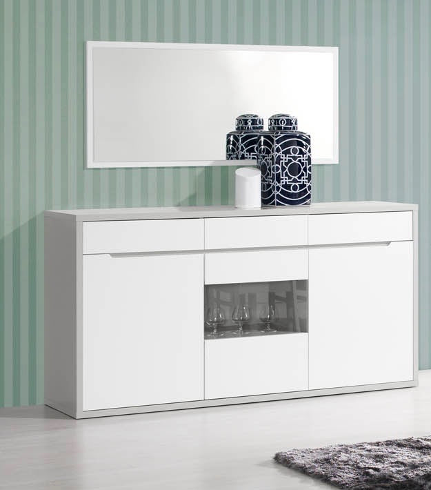 Modern Viena sideboard, 3 drawers, 3 doors with glass display.