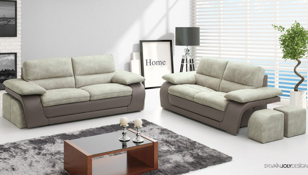 2 seater and 3 seater sofa set with ottomans, easy clean Nobuk Leather.