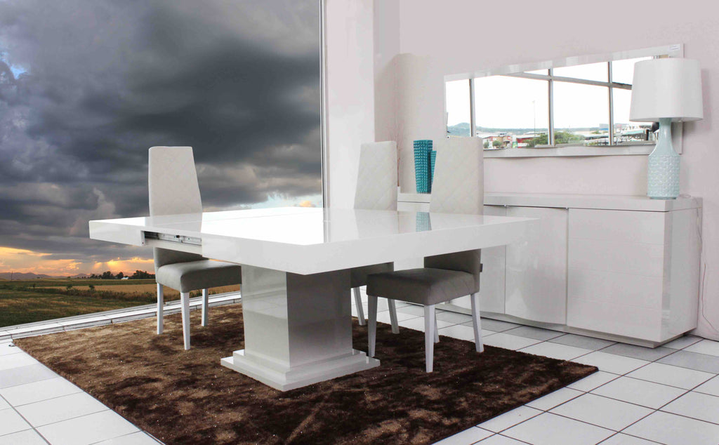 Oporto 8 Seater Square  Extendable Dining Table. Pearl White