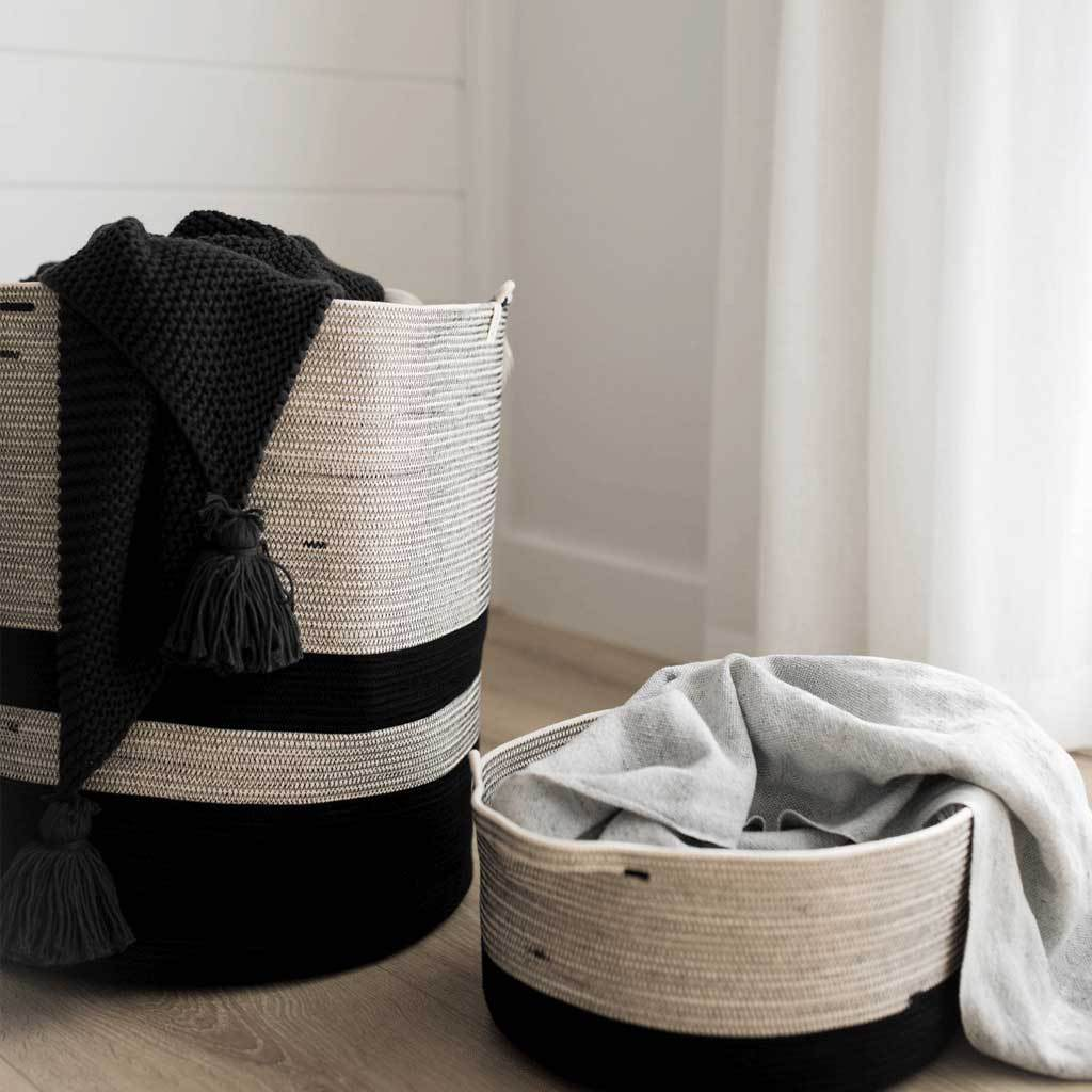 Handwoven cotton baskets. Planter baskets. Laundry baskets.