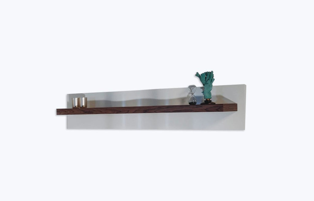 Oporto high gloss wood wall mounted upper shelf. Handcrafted wave design