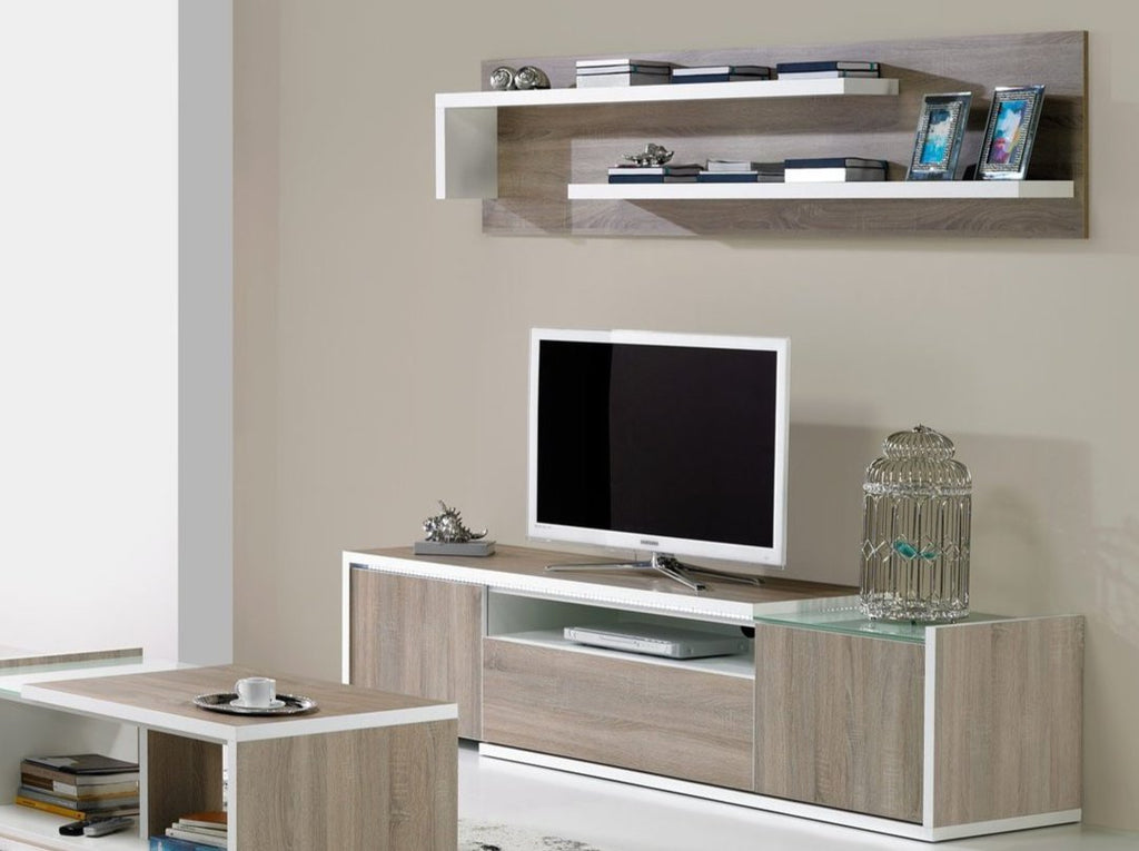 Baia TV stand with matching upper shelf and coffee table.