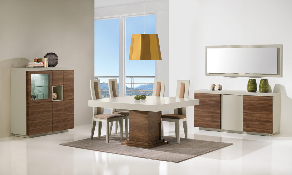 Oporto luxury dining room set, extendable dining table, 3 door sideboard with lighting, bar cabinet, all in high gloss wood.
