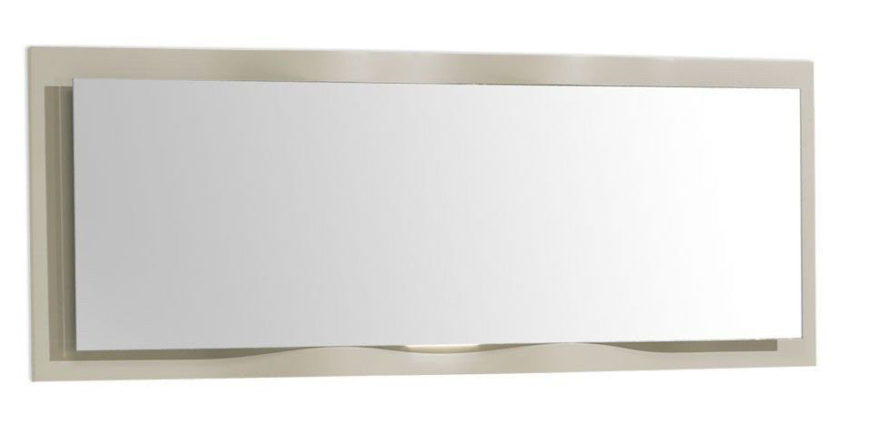 Oporto luxury dining mirror with handcrafted wave design, high gloss wood frame