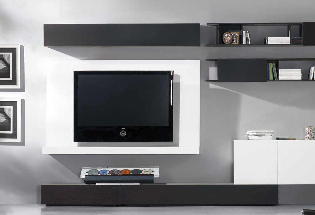 Milano Wall mounted plasma tv  unit in white wood.