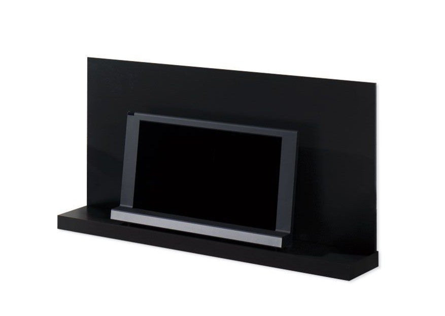 Wall mounted plasma tv  unit in dark wood.
