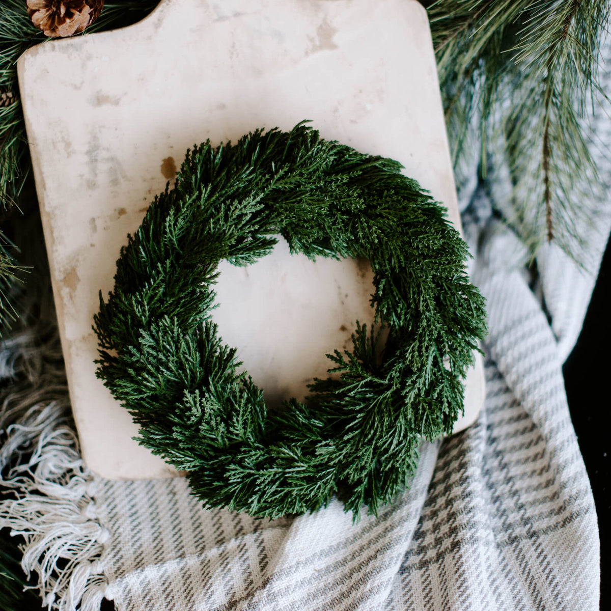 10 inch faux cedar wreath for winter decorating