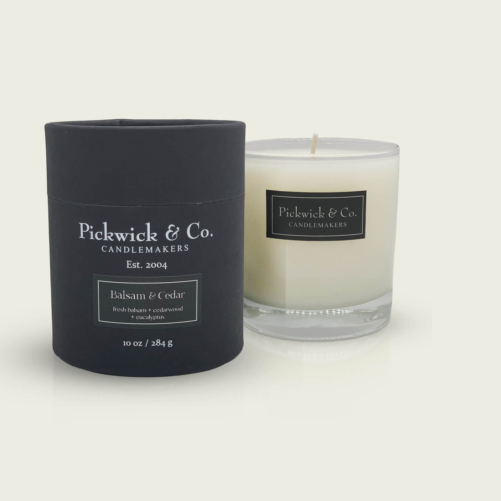A winter candle titled Balsam and Cedar from Pickwick & Co. Candlemakers