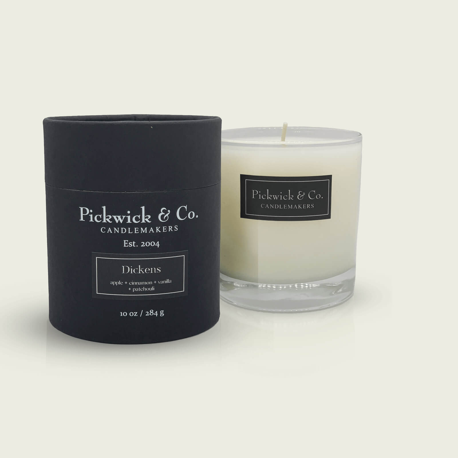 A Pickwick & Co. holiday candle called Dickens featuring apple, cinnamon, vanilla and patchouli