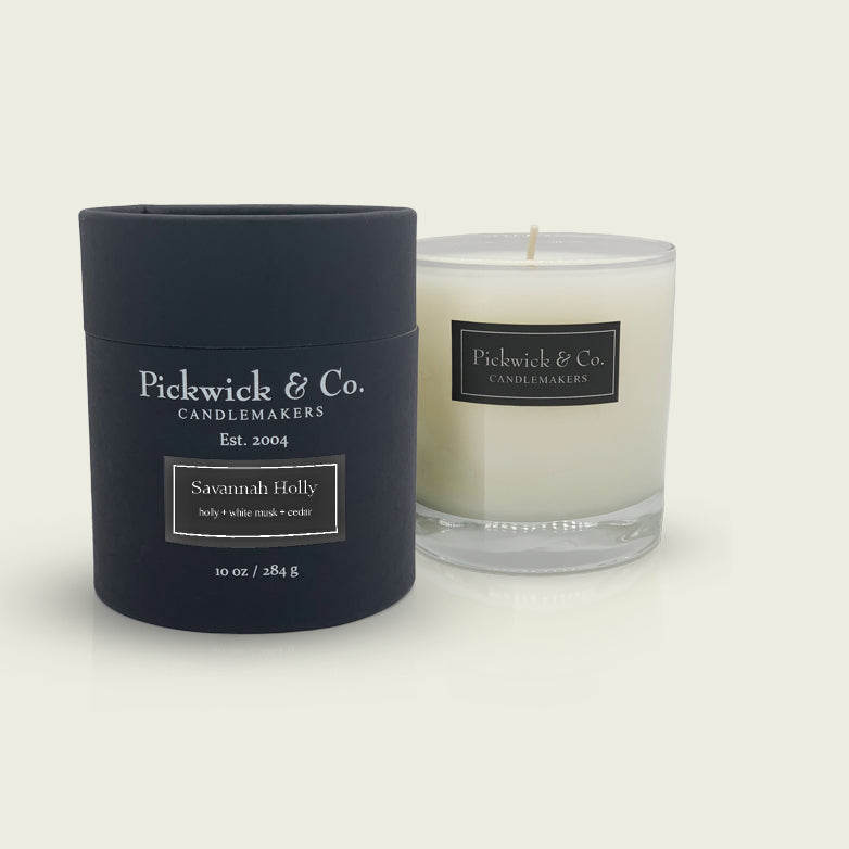 Pickwick & Co. candle called Savannah Holly with holly, white musk and cedar scents