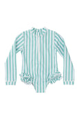 Mara frill one piece - mint stripe