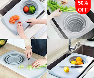 3-in-1 Multifunction Over-The-Sink Chopping Board with Removable Collapsible Colander ⭐⭐⭐⭐⭐