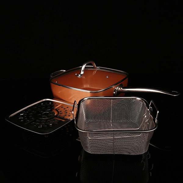 "Non-Stick, Non-Scratch 9.5"" Copper Square 4 in 1 Pan Set ⭐⭐⭐⭐⭐"